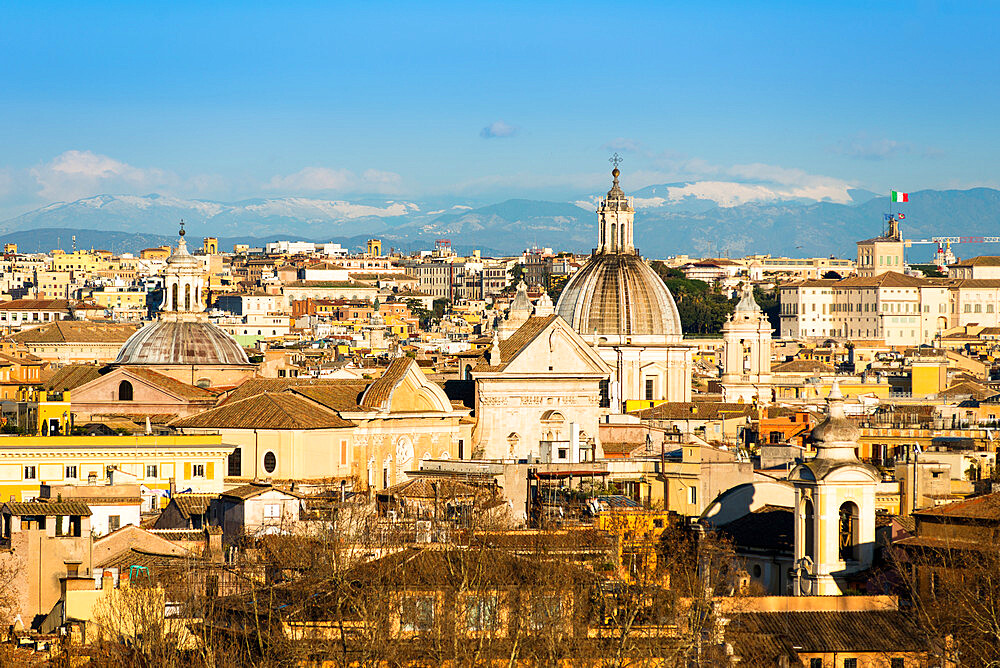 Historic Rome city skyline with domes and spires seen from Janiculum Terrace, Rome, Lazio, Italy, Europe - 1267-279