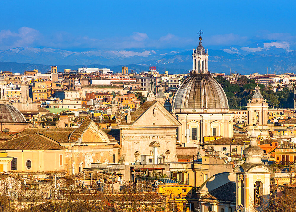 Historic Rome city skyline with domes and spires seen from Janiculum Terrace, Rome, Lazio, Italy, Europe - 1267-281