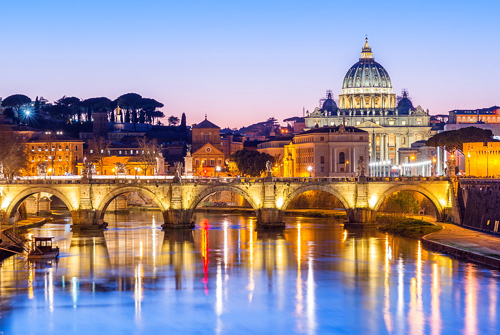 St. Peters Basilica and the Vatican with Ponte St Angelo over the River Tiber at dusk, Rome, Lazio, Italy, Europe - 1267-283
