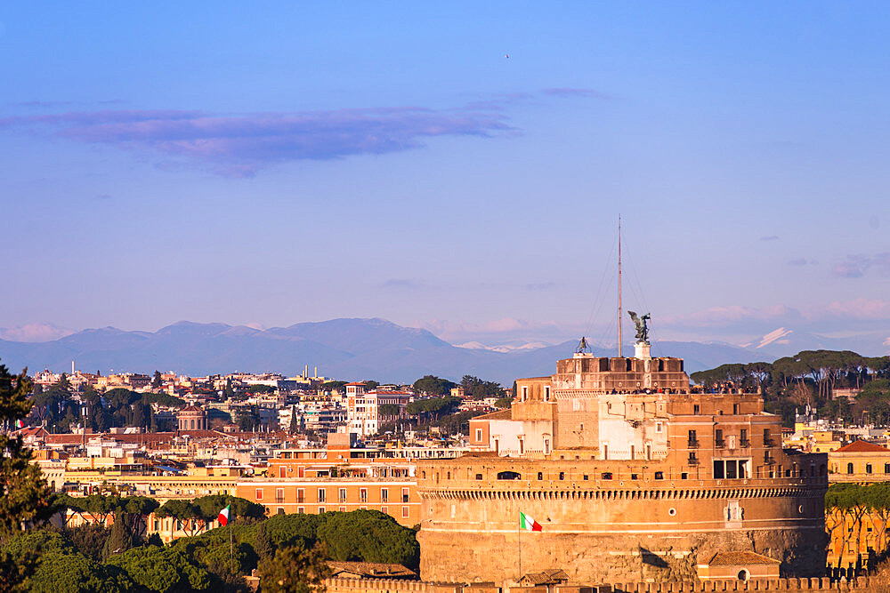 Castel Sant'Angelo (Mausoleum of Hadrian) seen from Janiculum Terrace at sunset, Rome, Lazio, Italy, Europe - 1267-284