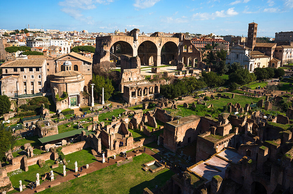 Ancient Rome city skyline from Palatine Hill, Rome, Lazio, Italy, Europe - 1267-291