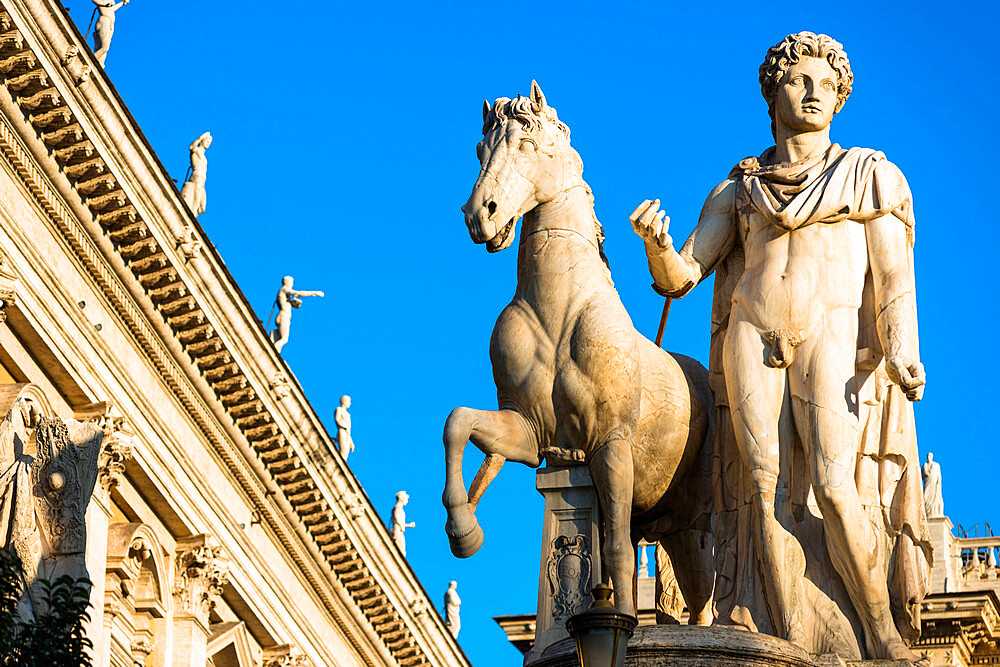 The Capitoline Hill sculptures at entrance to Piazza del Campidoglio, Rome, Lazio, Italy, Europe - 1267-294