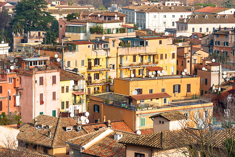 Old colourful residential housing seen from Janiculum Hill, Rome, Lazio, Italy, Europe - 1267-308