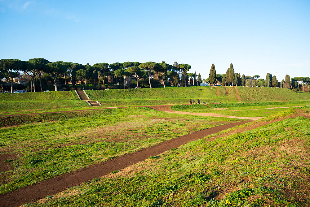 The Circus Maximus (Circo Massimo), an ancient Roman chariot racing stadium and mass entertainment venue in Rome, Lazio, Italy, Europe