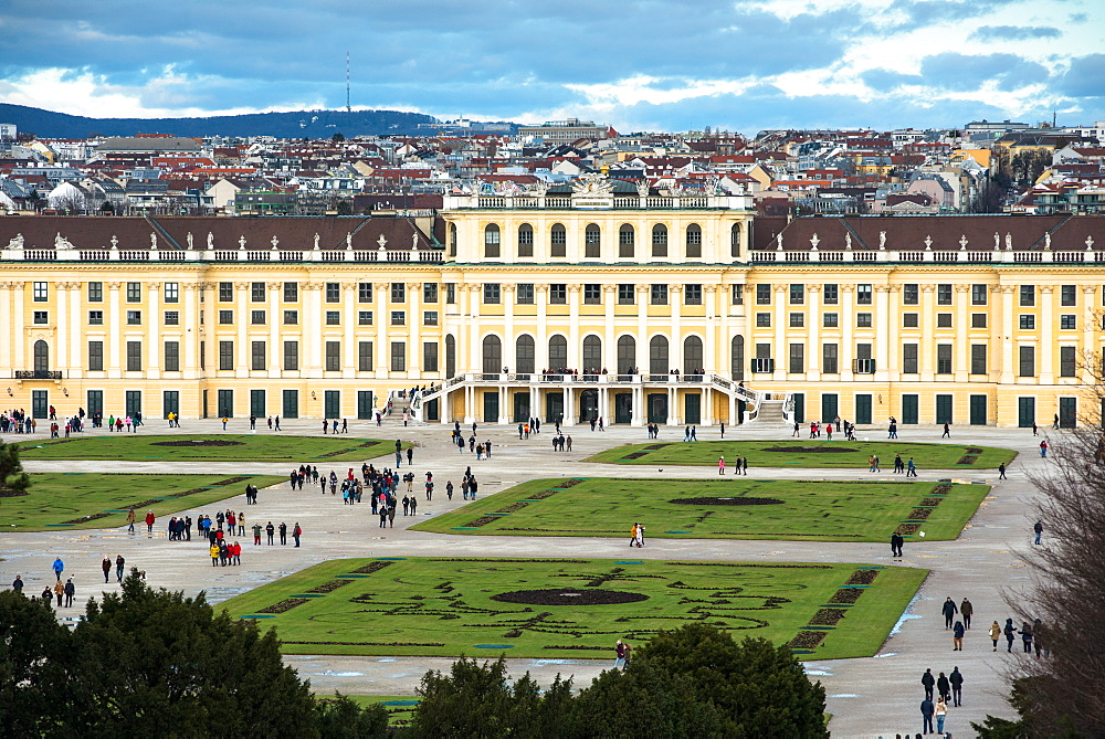 Elevated view of Schonbrunn Palace, UNESCO World Heritage Site, and Vienna city skyline viewed from Schonbrunn Palace garden, Vienna, Austria, Europe