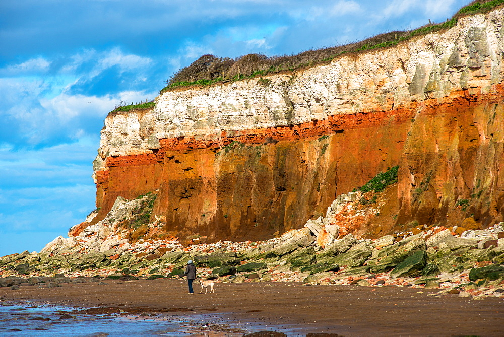Chalk over limestone Cliffs at Old Hunstanton on the North Norfolk coast, Norfolk, England, United Kingdom, Europe