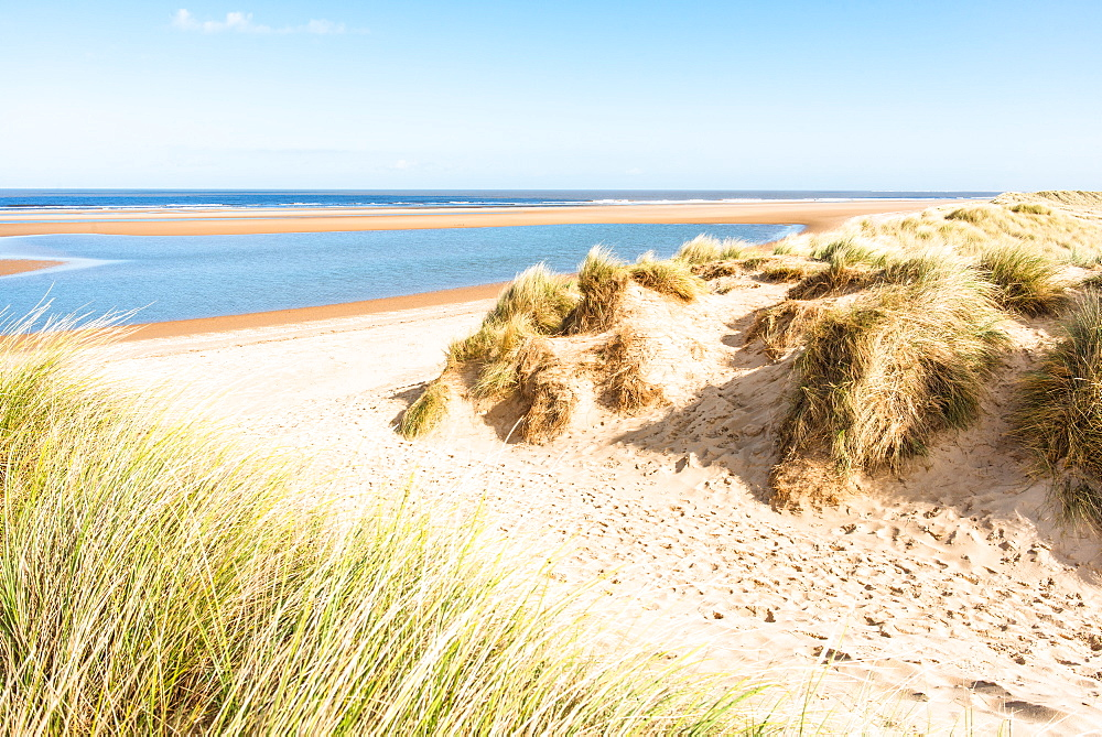 Sand dunes on North Norfolk Path at Holkham Bay, Norfolk, East Anglia, England, United Kingdom, Europe