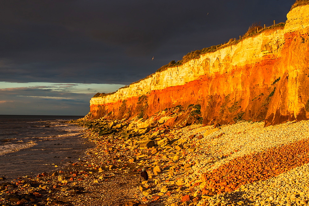 Dramatic golden hour seascape of Hunstanton cliffs with dark stormy sky, on North Norfolk coast, Norfolk, East Anglia, England, United Kingdom, Europe