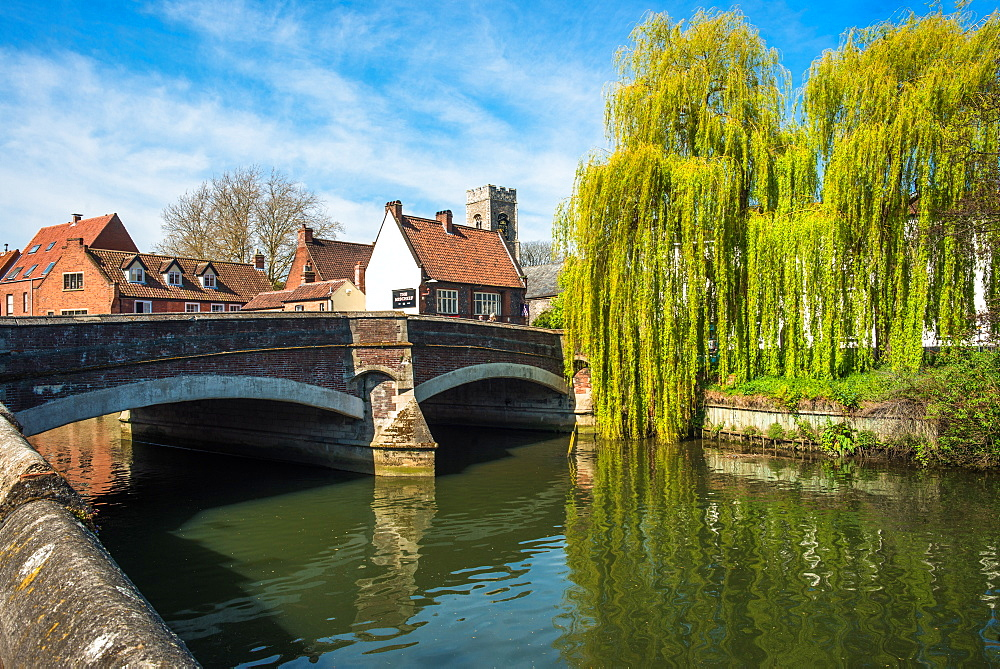A view of Fye Bridge crossing the River Wensum in the City of Norwich, Norfolk, England, United Kingdom.