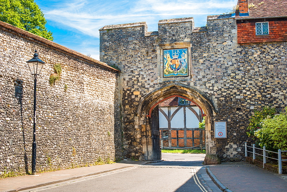Priors Gate in the old city wall, Winchester, Hampshire, England, UK