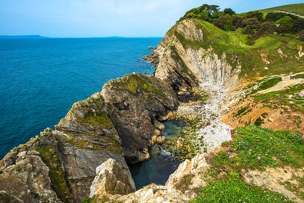 Stair Hole at Lulworth Cove on Dorset's Jurassic Coast, UNESCO World Heritage Site, Dorset, England, United Kingdom, Europe