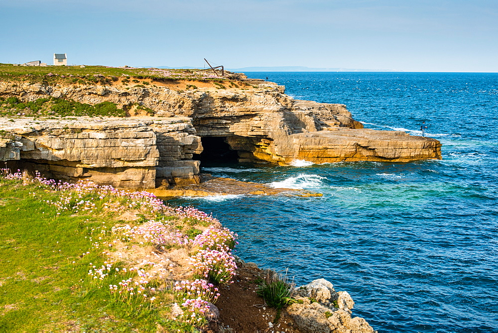 Jurassic oolitic limestone cliffs at Portland Bill in Dorset, UNESCO World Heritage Site, Dorset, England, United Kingdom, Europe