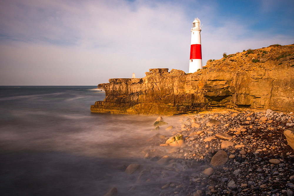 Portland Bill lighthouse on the Isle of Portland on the Jurassic Coast of Dorset, England, UK.