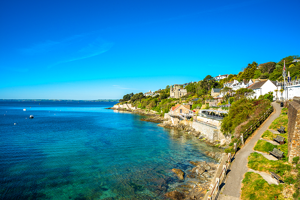 The seafront at the scenic village of St. Mawes, Cornwall, England, United Kingdom, Europe - 1267-463