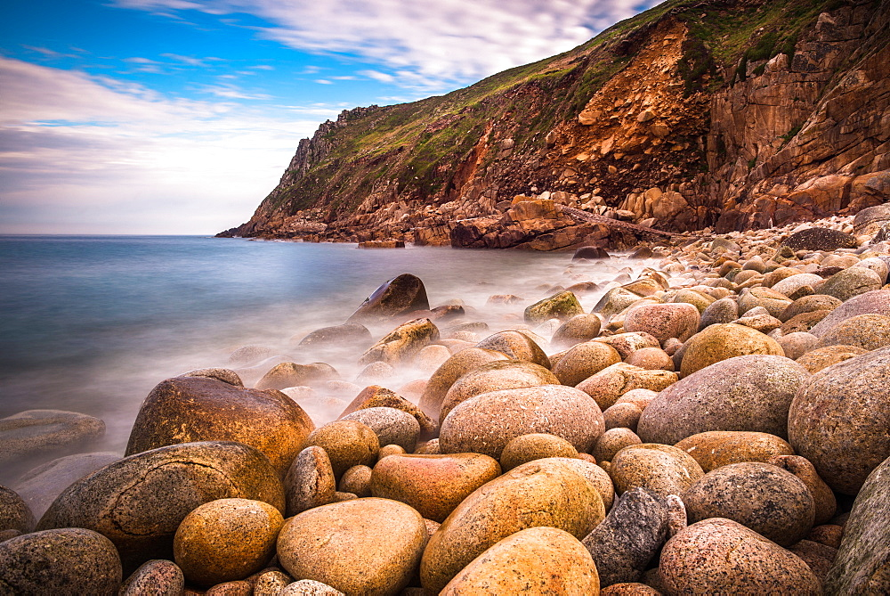 Porth Nanven, a rocky cove near Land's End, Cornwall, England, United Kingdom, Europe