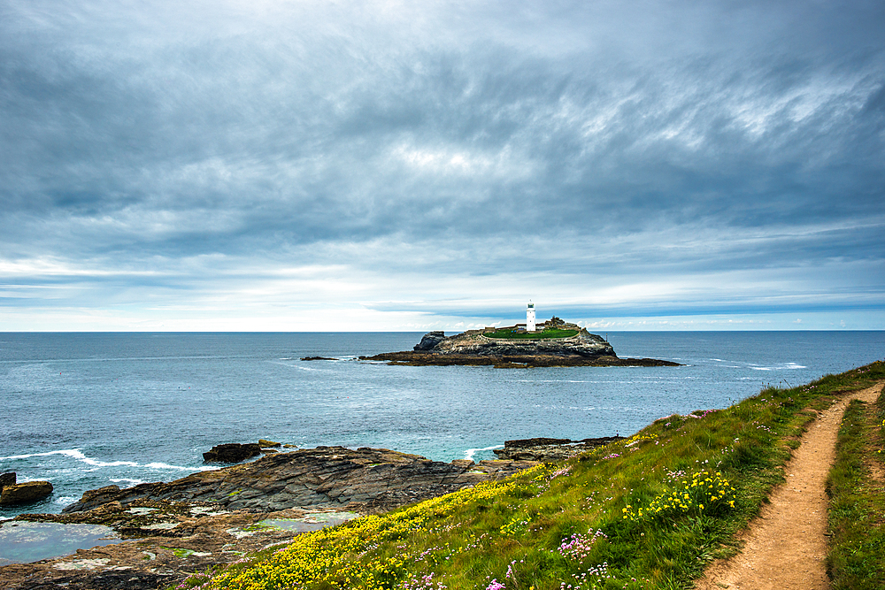Godrevy Lighthouse on Godrevy Island in St. Ives Bay, Cornwall, England, United Kingdom, Europe