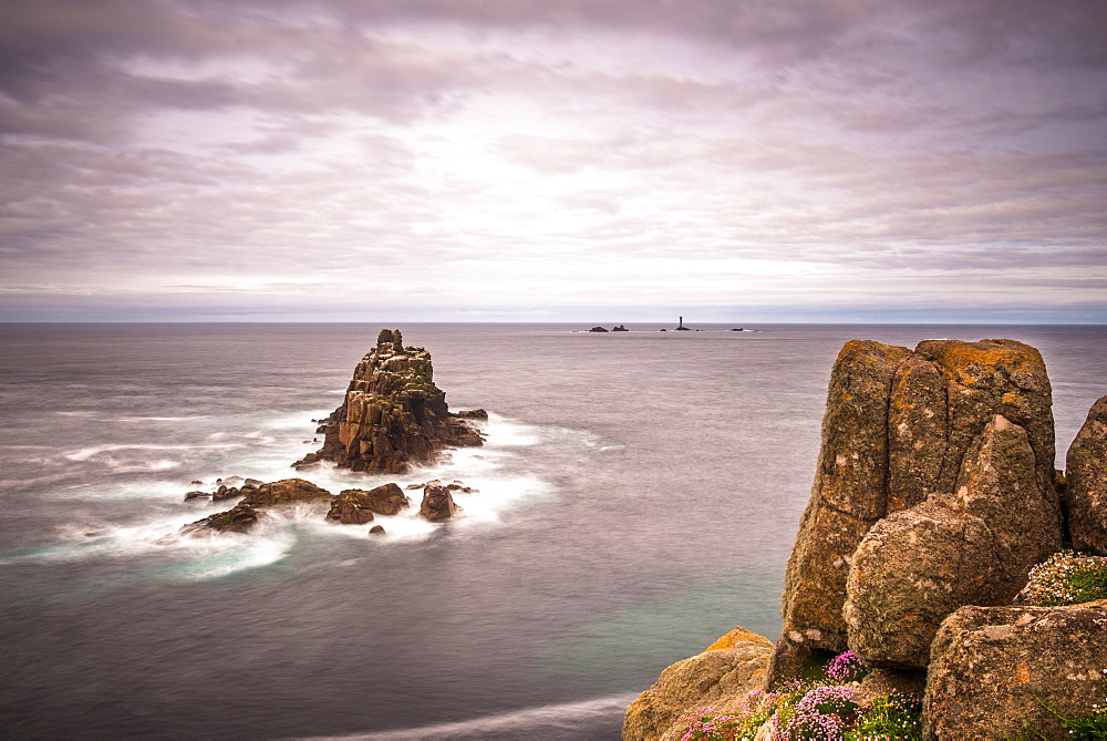 The rock formation known as The Armed Knight at Lands End in Cornwall, England, United Kingdom, Europe