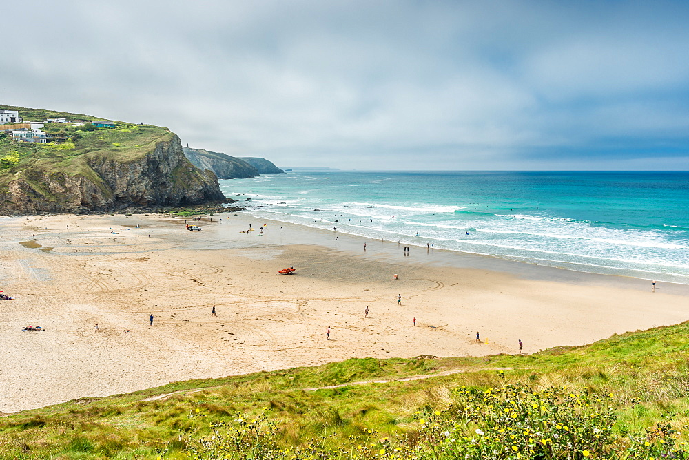 Porthtowan beach from the cliffs above, on the west Cornwall coast, England, United Kingdom, Europe - 1267-493