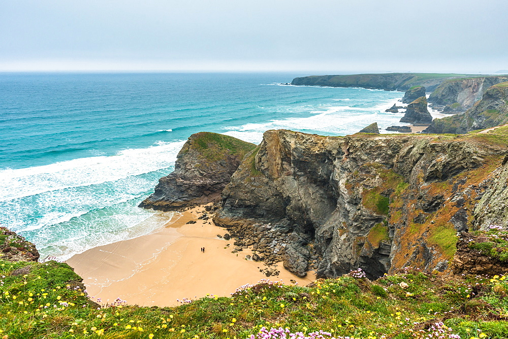 Spectacular rock formations at Bedruthan Steps just north of Newquay, Cornwall, England, United Kingdom, Europe