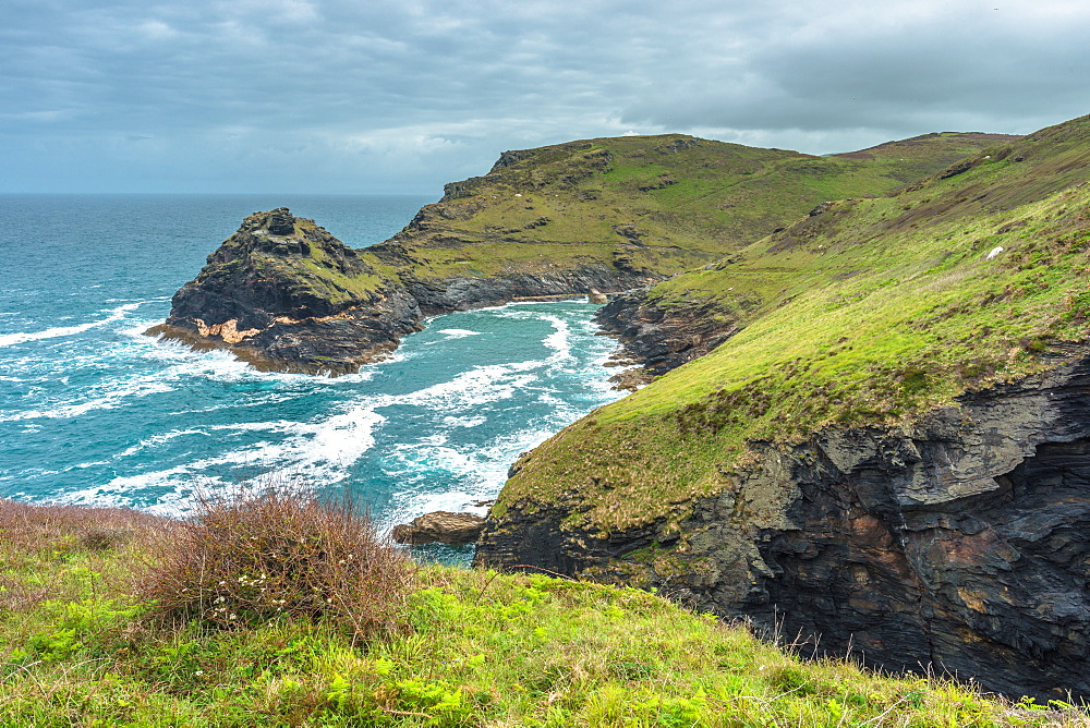 Coastal views including Penally Point from the South West coast path on the Atlantic coast of Cornwall, England, United Kingdom, Europe