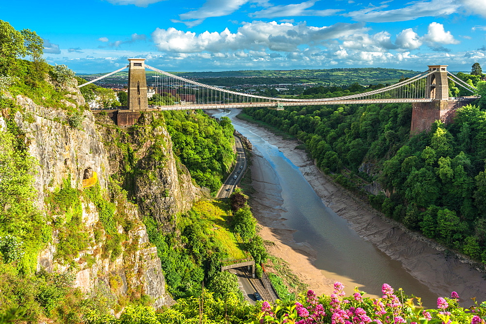 Historic Clifton Suspension Bridge by Isambard Kingdom Brunel spans the Avon Gorge with River Avon below, Bristol, England, United Kingdom, Europe - 1267-507