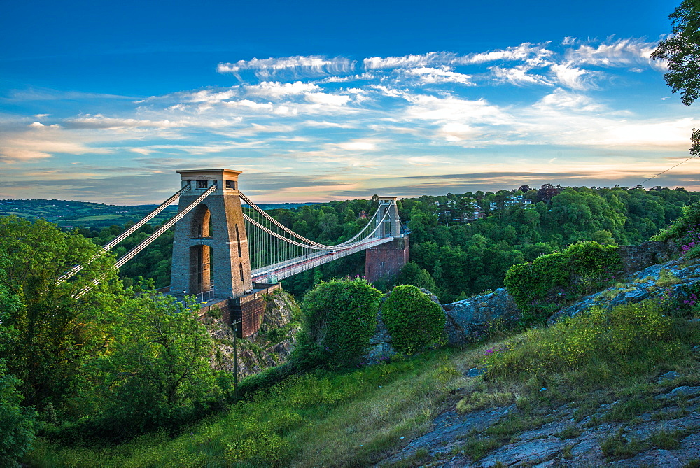 Historic Clifton Suspension Bridge by Isambard Kingdom Brunel spans the Avon Gorge with river Avon below, Bristol, England, United Kingdom, Europe - 1267-519