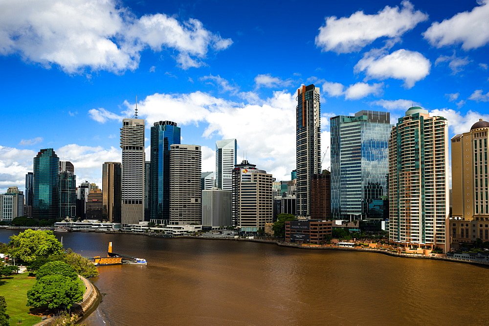 Brisbane city skyline seen from Story Bridge. Queensland. Australia.