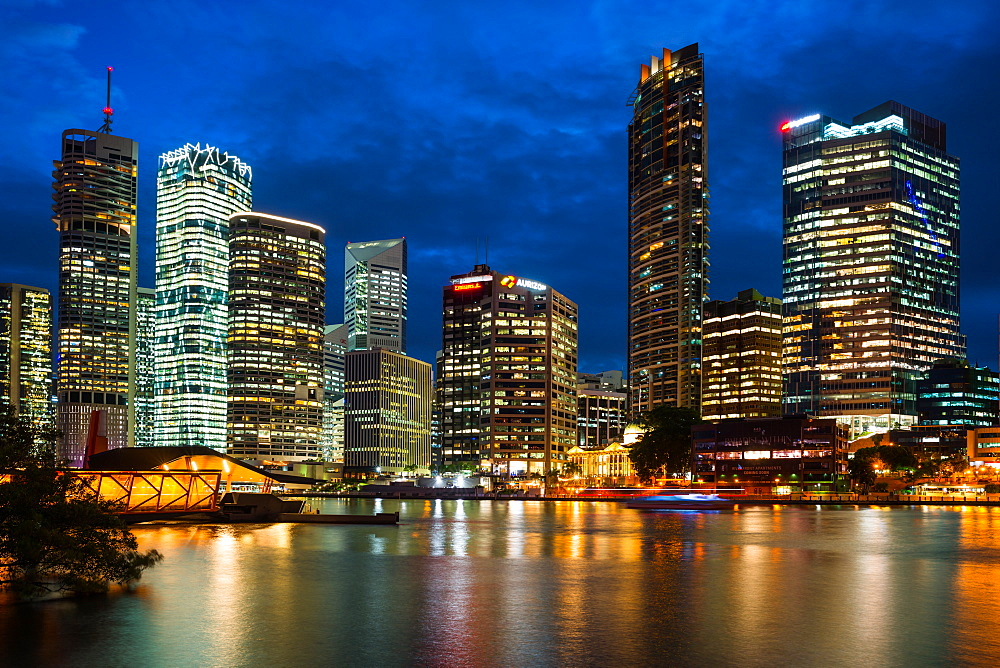 Brisbane city Skyline after dark. Queensland, Australia.