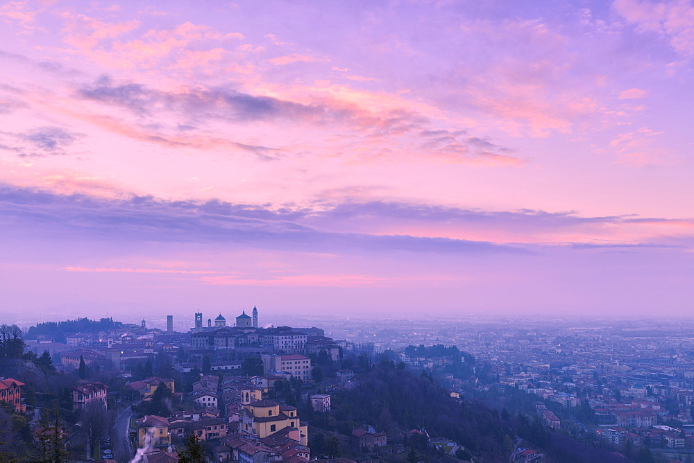 Upper city of Bergamo during sunrise, Bergamo, Lombardy, Italy, Europe
