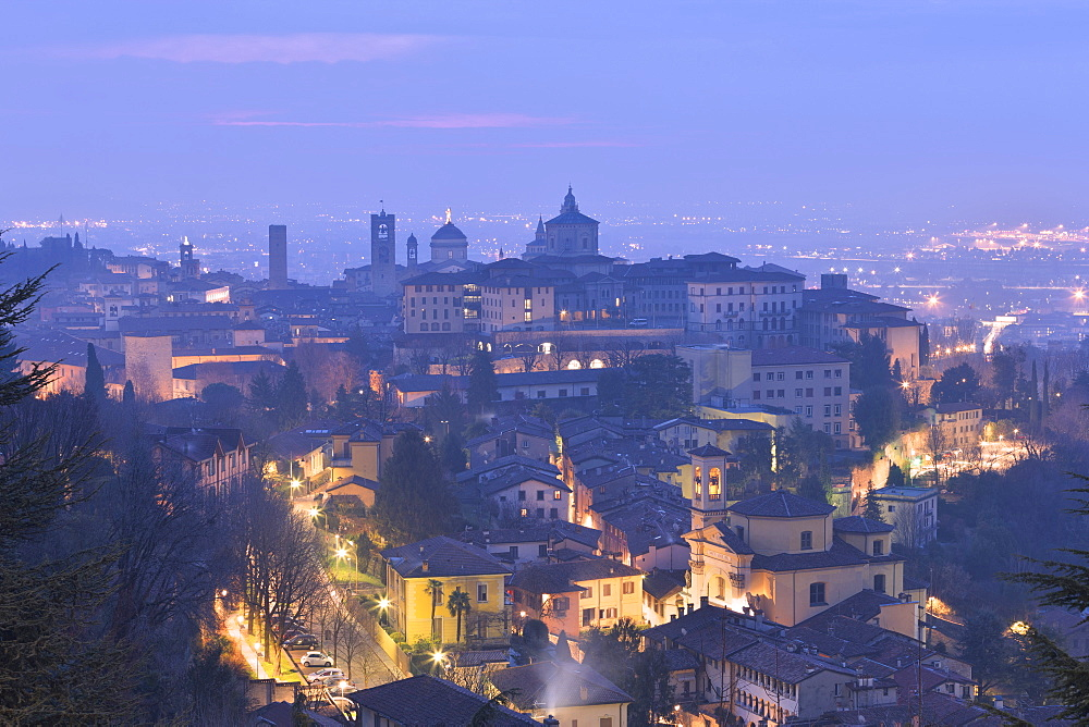 Twilight view of upper city of Bergamo, Lombardy, Italy, Europe