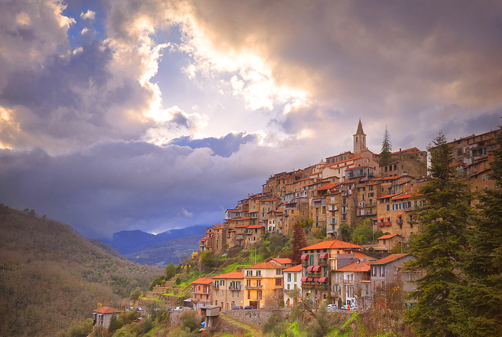 Sunset at the village of Apricale, Province of Imperia, Liguria, Italy, Europe. - 1269-121