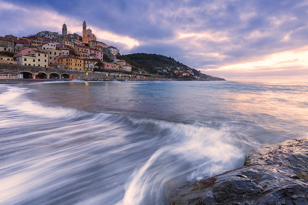 Waves on the beach of Cervo at sunrise. Cervo, Imperia province, Liguria, Italy, Europe. - 1269-123