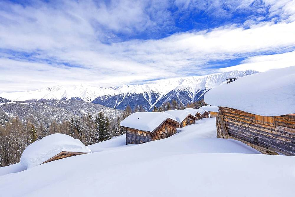 Typical alpine huts.Wiesner Alp,Davos Wiesen, Albula Valley,District of Prattigau/Davos,Canton of Graubünden,Switzerland,Europe. - 1269-149