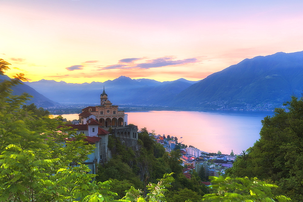Sunrise at the Sanctuary of Madonna del Sasso, Orselina, Locarno, Lake Maggiore, Canton of Ticino, Switzerland, Europe. - 1269-169