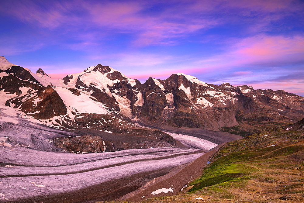 Sunrise at Vedret Pers with Piz Bernina in the background, Diavolezza Refuge, Bernina Pass, Engadine, Graubunden, Switzerland, Europe - 1269-187