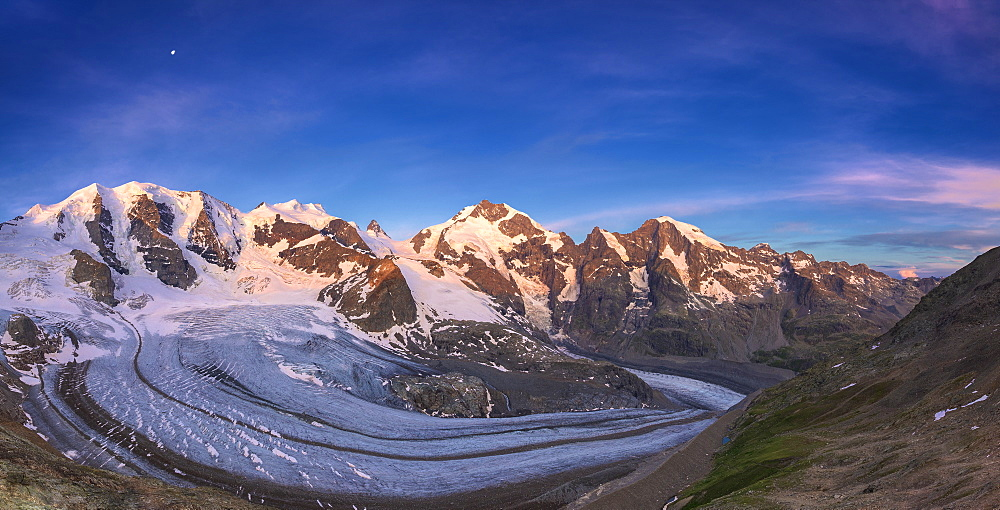 Panoramic view of Vedret Pers Glacier at sunrise, Diavolezza Refuge, Bernina Pass, Engadine, Graubunden, Switzerland, Europe - 1269-189