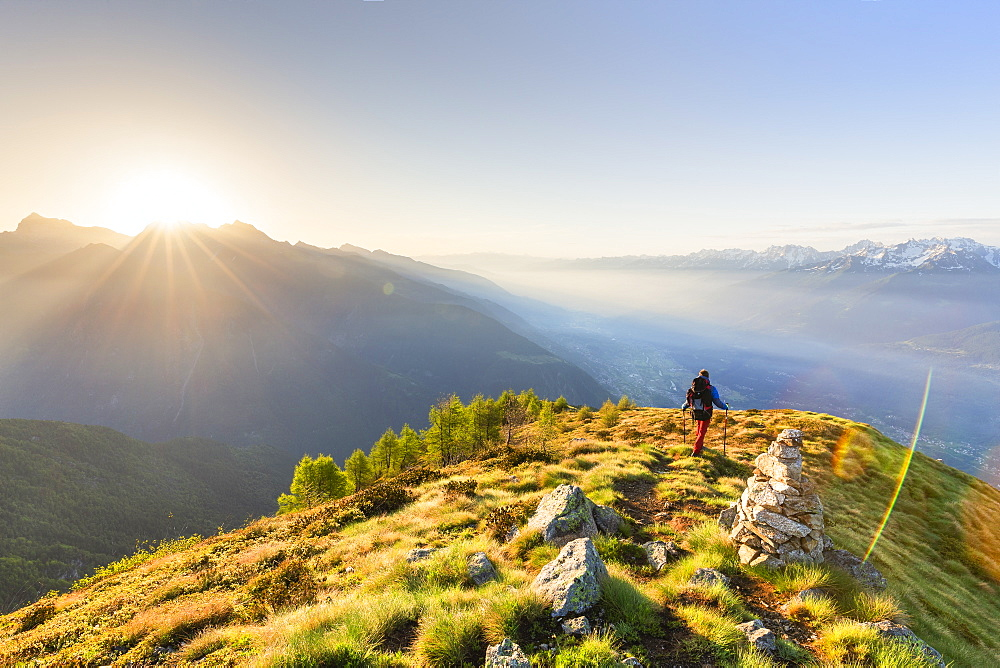 A hiker on the ridge of Mount Rolla, Valmalenco, Valtellina, Lombardy, Italy, Europe - 1269-212