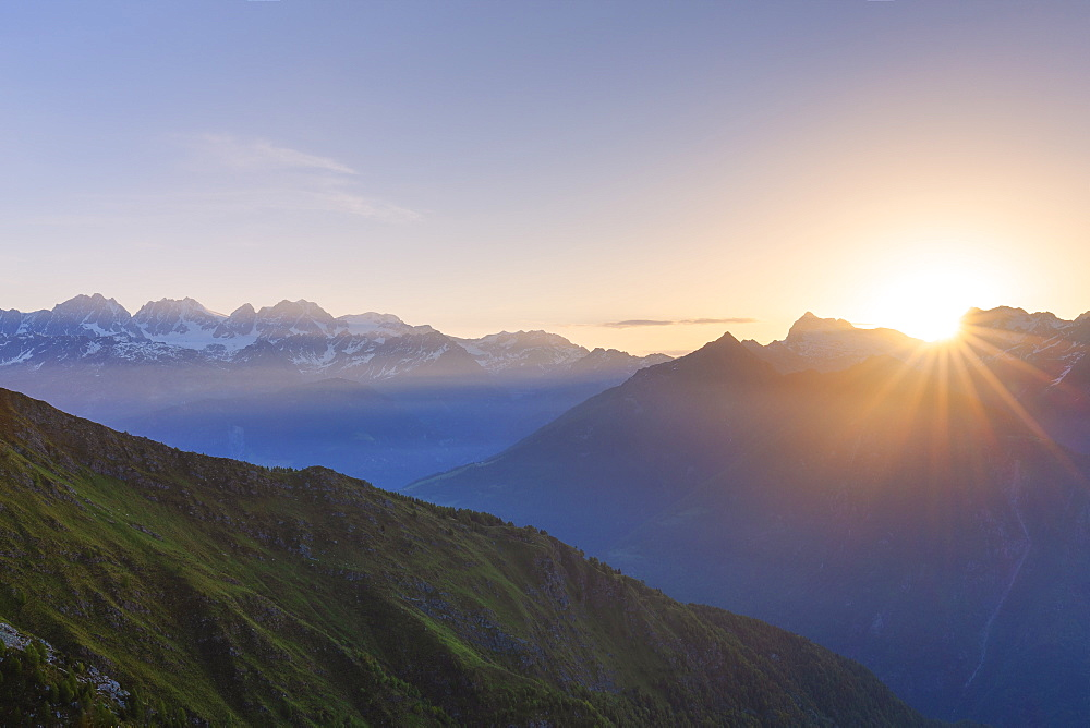 Sunrise at high altitude with Bernina mountain range in the background, Valmalenco, Valtellina, Lombardy, Italy, Europe - 1269-217