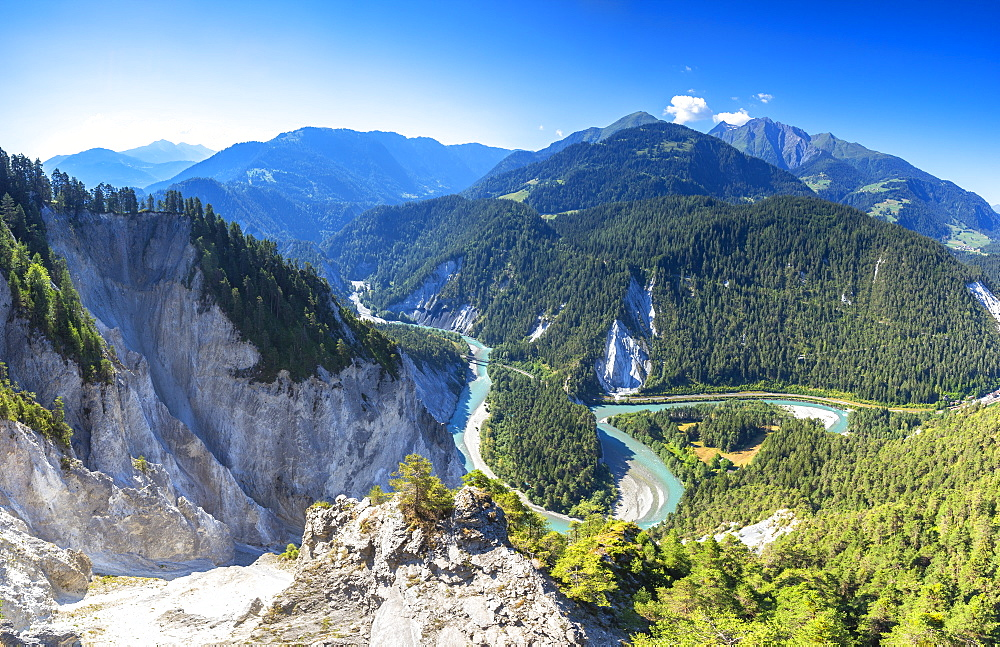 Panoramic view of Rhine Gorge (Ruinaulta), Flims, District of Imboden, Canton of Grisons (Graubunden), Switzerland, Europe - 1269-231