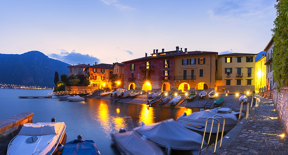 Fishermans houses at dusk. Mandello del Lario, Province of Lecco, Como Lake, Lombardy, Italy, Europe. - 1269-254