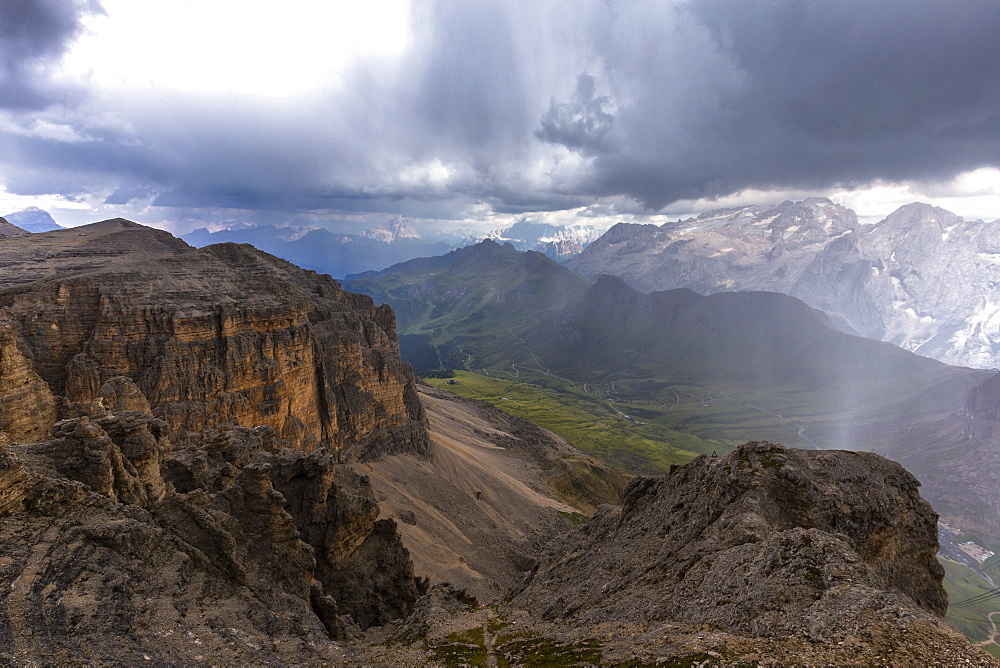 Marmolada from the top of Piz Pordoi during storm, Pordoi Pass, Fassa Valley, Trentino, Dolomites, Italy, Europe