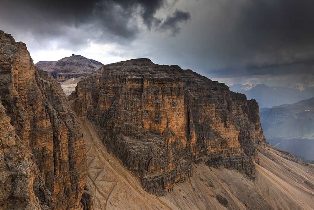 Forcella Pordoi and Piz Boa from the Pordoi Cable car during a storm, Pordoi Pass, Fassa Valley, Trentino, Dolomites, Italy, Europe