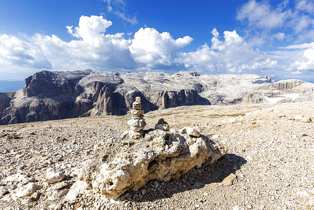Little pebble at the plateau of Piz Pordoi, Fassa Valley, Trentino, Dolomites, Italy, Europe
