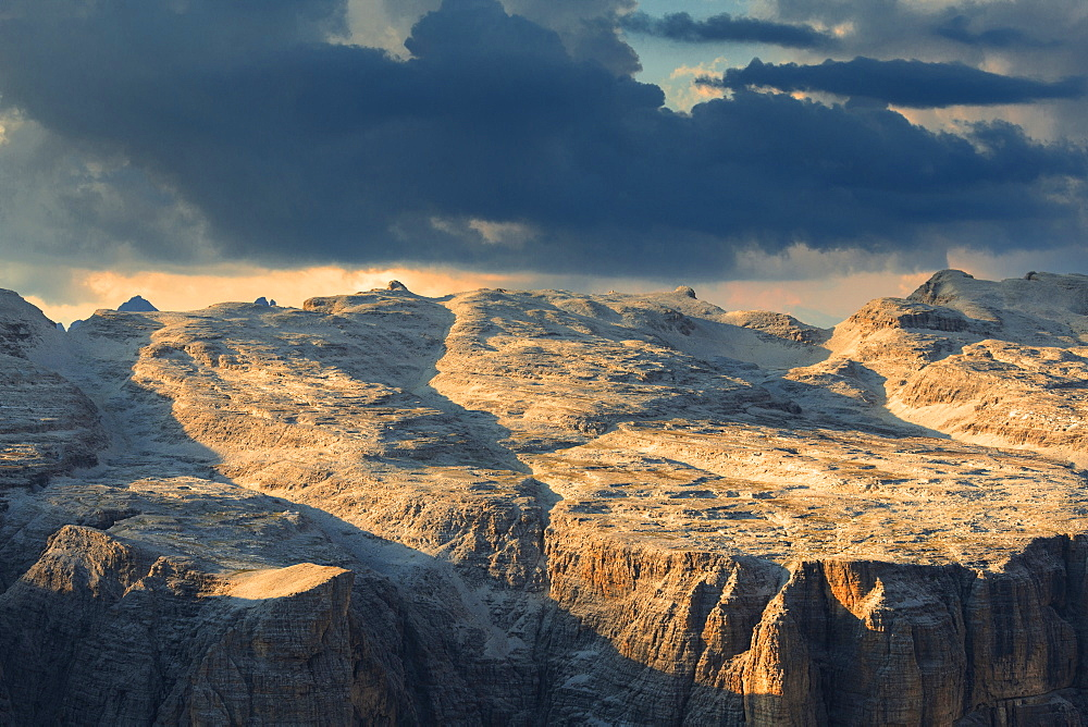 Sunset on Sella Plateau, Piz Pordoi, Pordoi Pass, Fassa Valley, Trentino, Dolomites, Italy, Europe