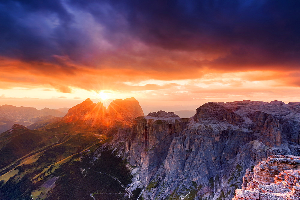 Stunning sunset on Sassolungo group, Fassa Valley, Trentino, Dolomites, Italy, Europe