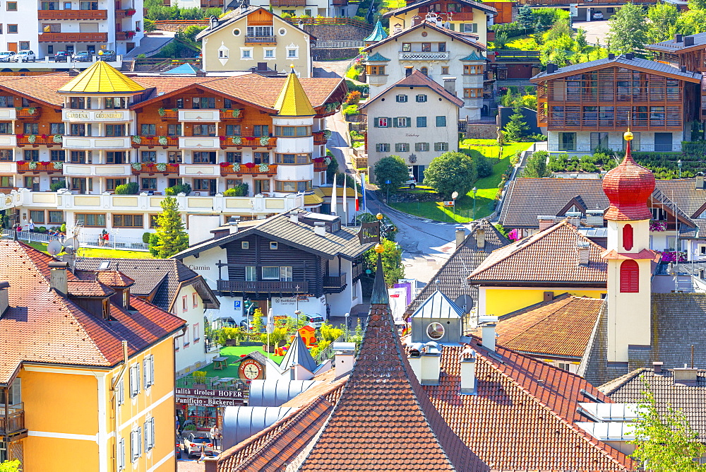 Elevated view of historical center of Ortisei, Gardena Valley, Dolomites, South Tyrol, Italy, Europe. - 1269-295