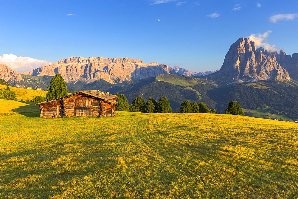 Last rays of sun on traditional hut with view on Sassolungo and Sella Group. Gardena Valley, South Tyrol, Dolomites, Italy, Europe. - 1269-297