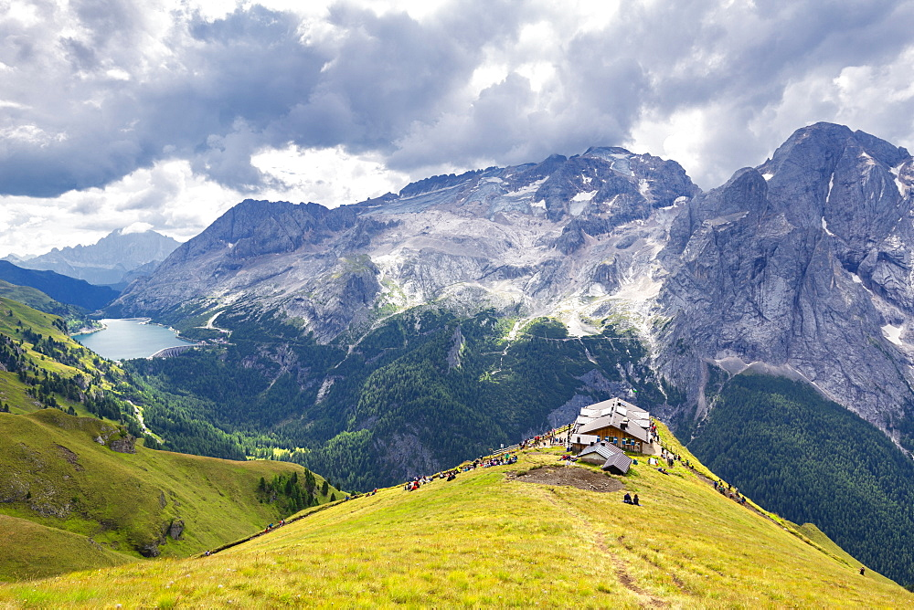 Viel del Pan Refuge with Marmolada in the background, Pordoi Pass, Fassa Valley, Trentino, Dolomites, Italy, Europe