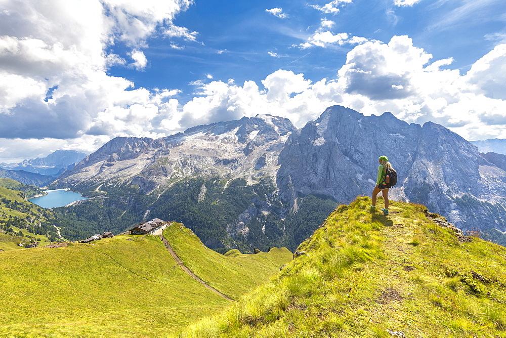 Hiker looks towards Viel del Pan Refuge with Marmolada in the background, Pordoi Pass, Fassa Valley, Trentino, Dolomites, Italy, Europe