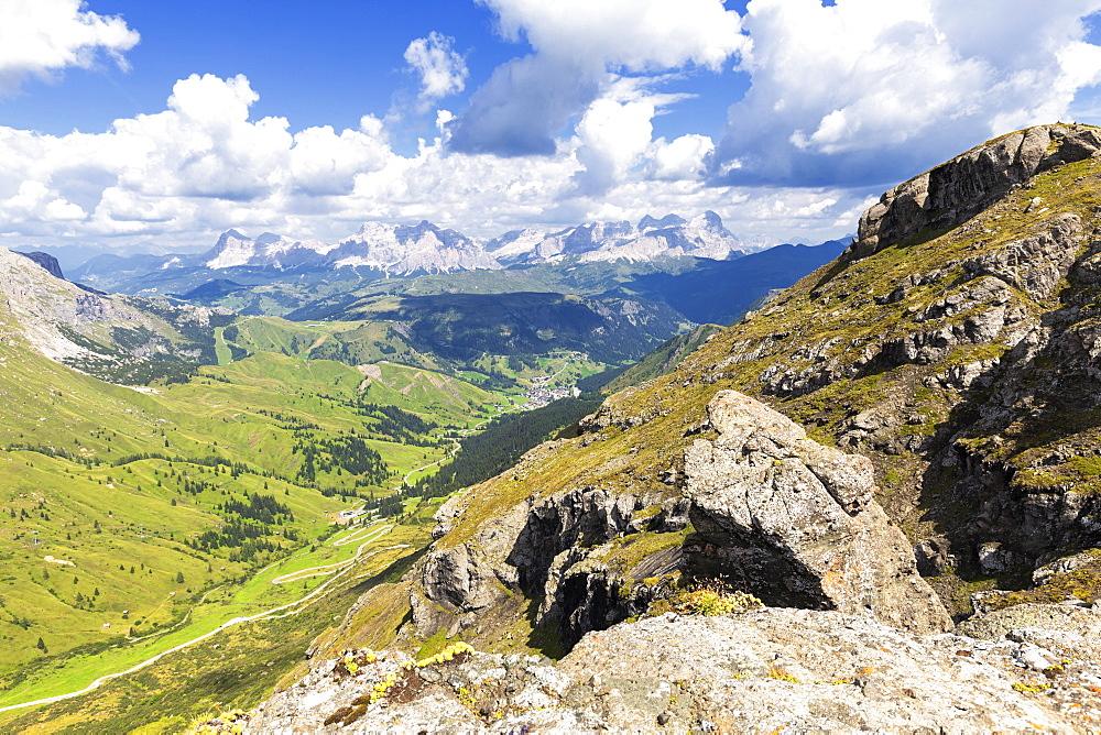 Badia Valley and Pordoi Pass road, Pordoi Pass, Fassa Valley, Trentino, Dolomites, Italy, Europe
